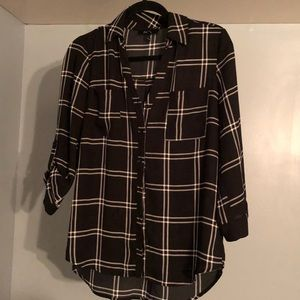Tops - Black and White Stripped Flannel